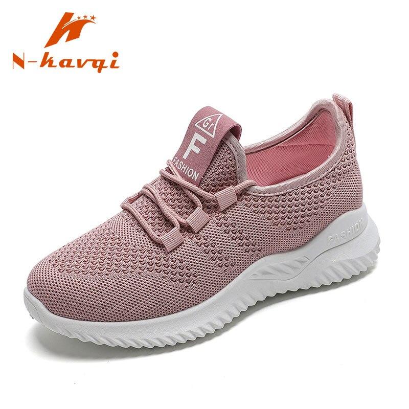 NKAVQI Women Casual Shoes Women Fashion Breathable Mesh Flat Sneakers Shoes Woman Lightweight Sneakers 2019 Tenis Feminino Shoes