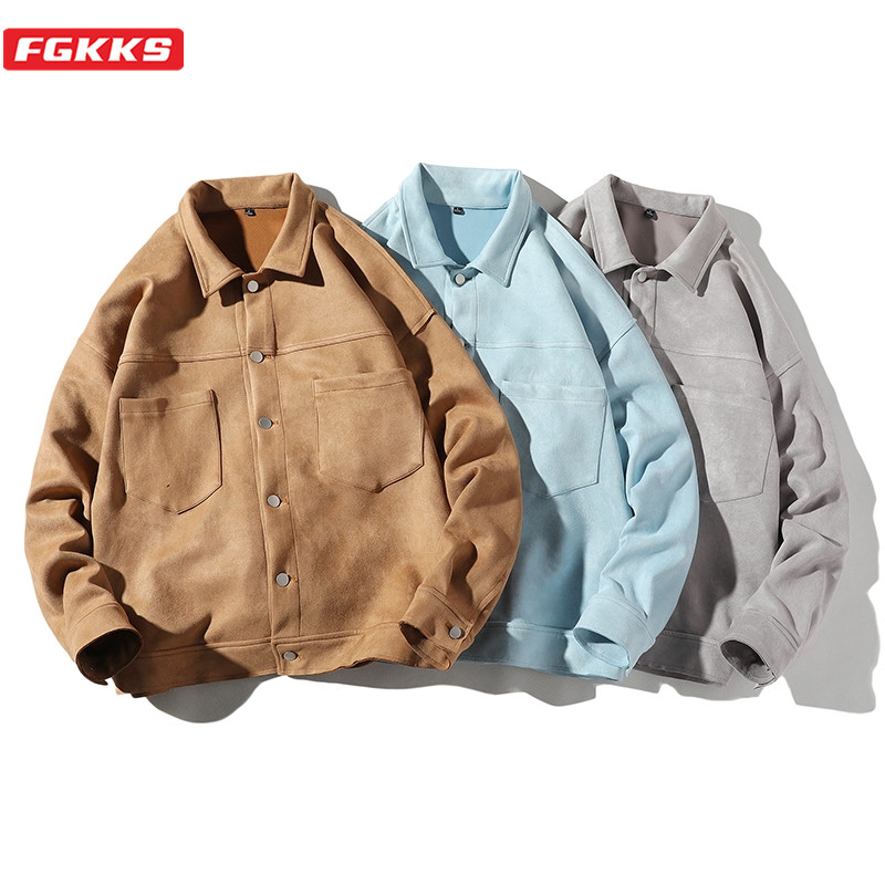 FGKKS Brand Men Fashion Jackets New Men's Japan Style Big Pocket Jacket Coats Solid Color Turn-Down Collar Jacket Male Clothing