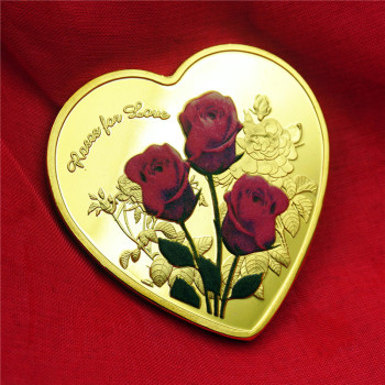 Heart-shaped Rose Commemorative Coin Shaped Gold And Silver Coin Lovers Coin Niue Wedding Commemorative Gifts Souvenir Coins gold silver color panda commemorative coin metal crafts gifts home decoration accessories challenge coin art collection