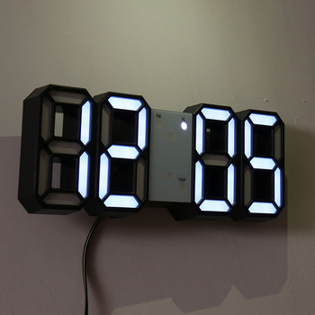 Wall Clock Watch Clock 3D Led Digital  Modern Design  Living Room Decor Table Alarm Nightlight Luminous Desktop 1