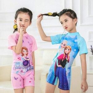 Купальный костюм для маленьких девочек, цельный купальный костюм, платье принцессы Эльзы и Эльзы из мультфильма «Холодное сердце», купальн...