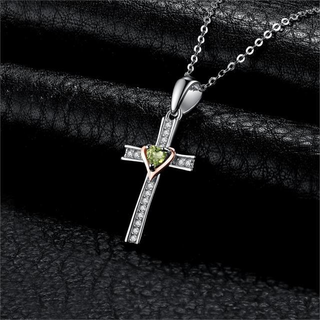 Cross Peridot Pendant
