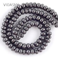 Natural Stone Black Lava Hematite Rondelle Beads For Jewelry Making 6 8 10mm Abacus Spacer Diy Bracelet Necklace 15