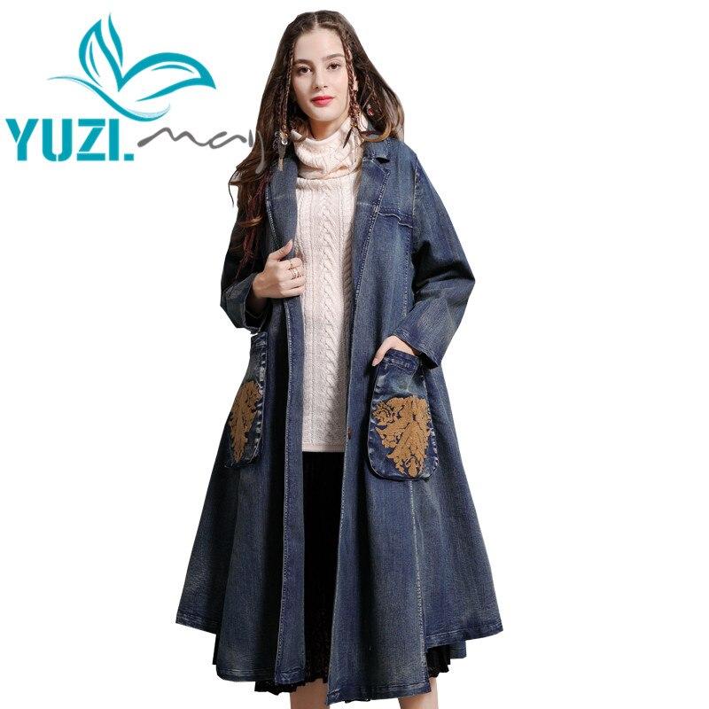 Coat Women 2019 Yuzi.may Boho New Denim Trench Coats For Women Turn-down Collar Single Breasted Long Blue Casaco Feminino B9287