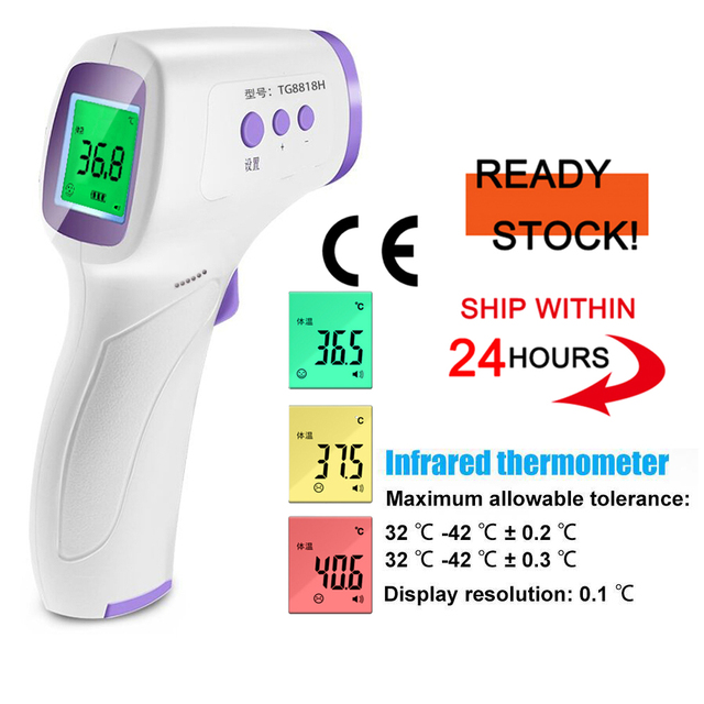 $ US $33.40 Medical Digital Baby Adult Non-Contact Thermometer Infrared Baby Forehead Ear LCD Electric Body Temperature Fever Checker