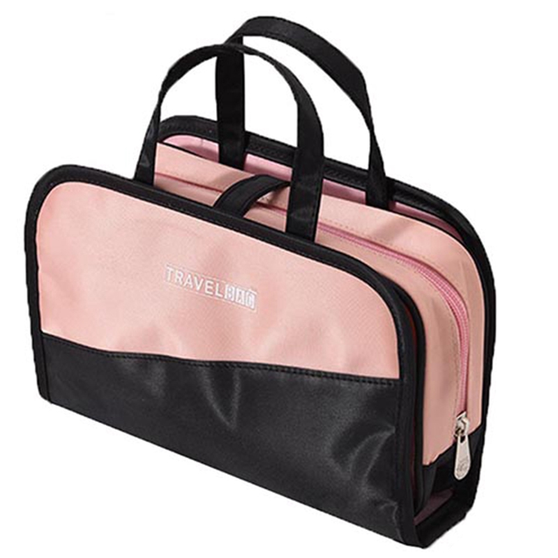 LJL-Women's Two-In-One Cosmetic Bag Folding Cosmetic Storage Bags Travel Organizer Makeup Bag Large Capacity Beauty Toiletry Bag