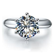 QYI الفضة 925 خواتم النساء خواتم الخطوبة الفضة الجولة مقلد الماس لامعة جدا خاتم هدية الزفاف حجر حجم 1/1.5/2/3 ct