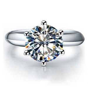 Image 1 - QYI כסף 925 טבעות נשים אירוסין כסף טבעות עגול מדומה יהלומי מאוד מבריק מתנה לחתונה טבעת אבן גודל 1/1.5/2/3 ct