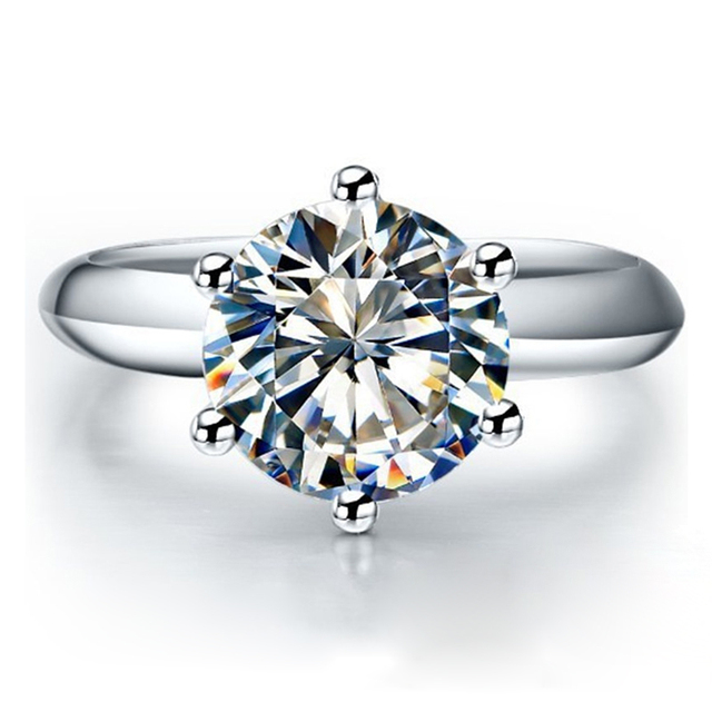 QYI כסף 925 טבעות נשים אירוסין כסף טבעות עגול מדומה יהלומי מאוד מבריק מתנה לחתונה טבעת אבן גודל 1/1.5/2/3 ct