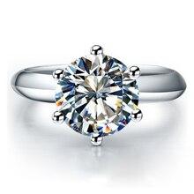 QYI Argento 925 Anelli Delle Donne di Fidanzamento Anelli Dargento Rotondo Diamante Simulato Molto Lucido anello Regalo di Nozze Formato di Pietra 1/1.5/2/3 ct