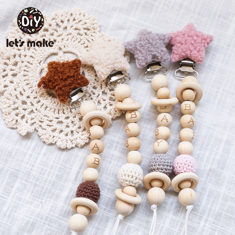 Let'S Make 1pc Holder For Nipples Lambs Wool Silicone Beads Baby Wooden Teether Wood For Nipples Personalized Baby Pacifier Clip