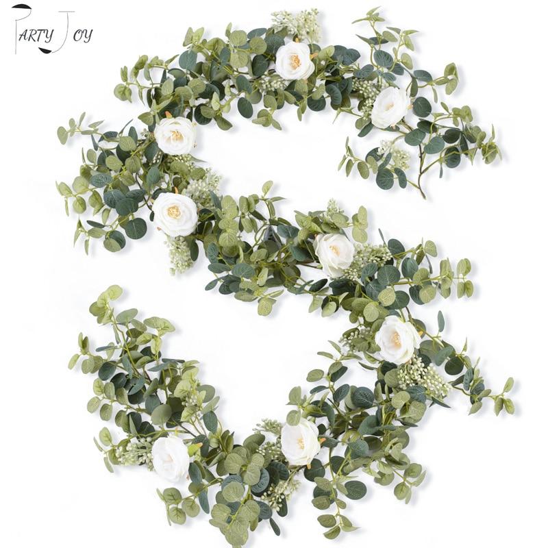 PARTY JOY 2M Artificial Flowers Plants Fake Eucalyptus Vine Garland Hanging for Wedding Home Office Party Garden Craft Art Decor
