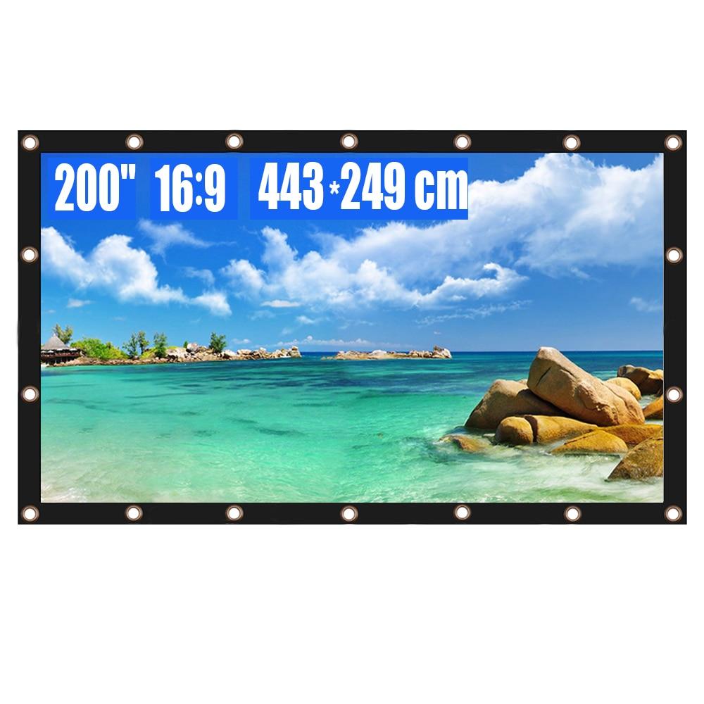 Tela do projetor 200 Polegada 16:9 hd dobrável anti-vinco filmes de projeção portátil tela para o escritório de cinema em casa ao ar livre indoor