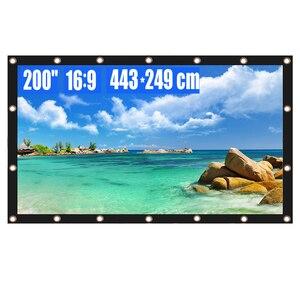Проектор экран 200 дюймов 16:9 HD складной Анти-Crease портативный Проекционный фильм экран для домашнего кинотеатра офиса на открытом воздухе в п...