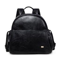 Moda maternidade fralda mudando saco para mãe preto grande capacidade moda saco de fraldas com 2 correias mochila de viagem para o bebê