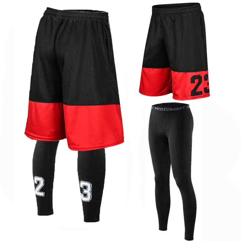 Men Basketball Sets Sport Gym QUICK-DRY Workout Shorts + Tights Male Soccer Exercise Hiking Running Fitness Suit Tracksuits 501L