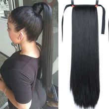 32 150g Inch Long Synthetic Hair High Temperature Fiber Straight Hair With Ponytail Fake Hair Chip-in Hair Extensions Pony Tail