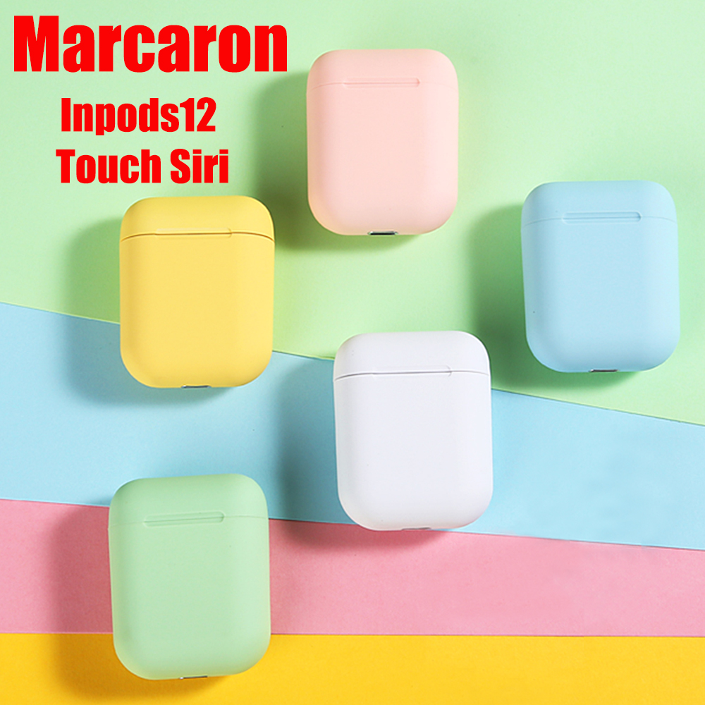 <font><b>Original</b></font> Matte Macaron <font><b>i12</b></font> <font><b>Tws</b></font> 5.0 Earphone Wireless Bluetooth Headphones Pop up 3D Stereo Gaming Headsets with Charging Box image
