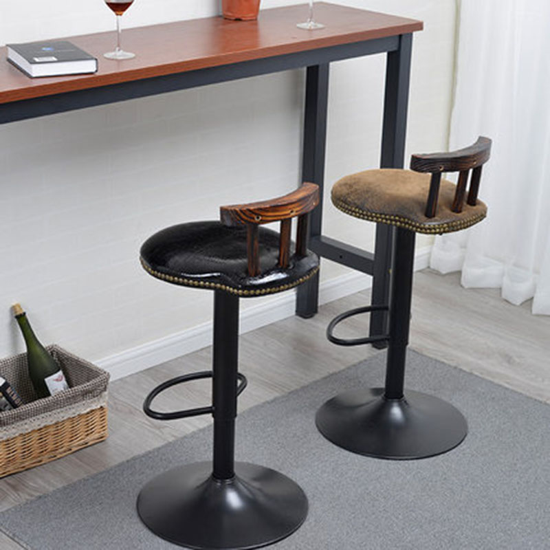 Fashion Retro Elegant Wooden Bar Chair Lifting Rotate Unique High Stool Home Office Coffee Chair Oil Wax Bronzing Cloth