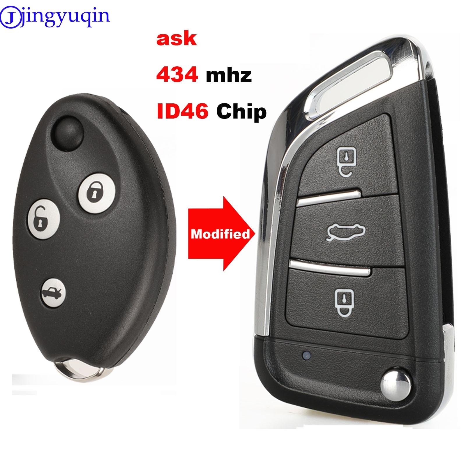 Jingyuqin 3 кнопки для Citroen Senna C3 C5 пульт дистанционного управления с электроникой 433 МГц Неразрезанные лопасти ключи для автомобиля