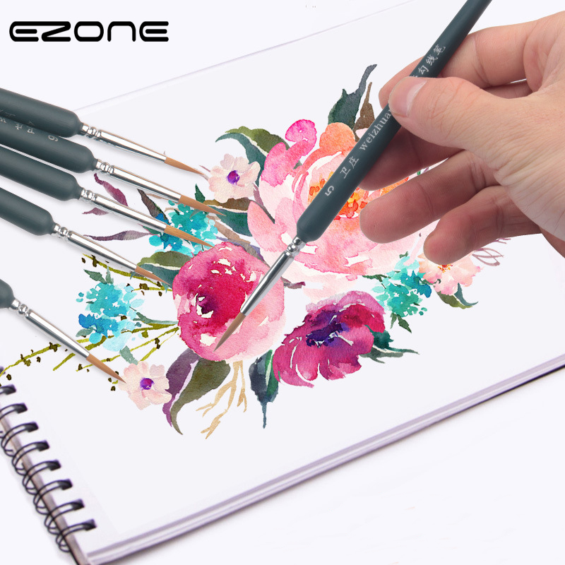 EZONE Black Paint Brush Fine Hand Painted Thin Hook Line Pen Drawing Art Pens Wolf Hair Brush Painting Pen School Office Supply