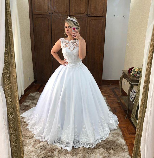 Vestido De Noiva Princesa Lace Wedding Dresses 2020 Sleeveless A Line Appliques Buttons Back Bridal Wedding Gowns Bride Dress
