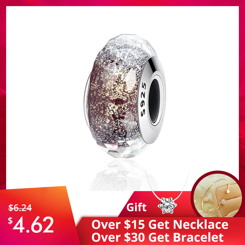 WOSTU Jewelry Charm Glass-Beads Christmas-Gift 925-Sterling-Silver Murano Real Original