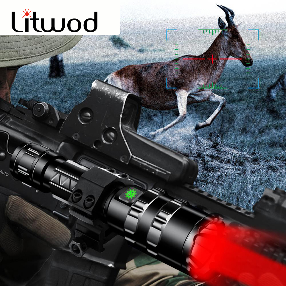 Litwod <font><b>60000LM</b></font> <font><b>LED</b></font> L2 clip Hunting Flashlight zoomable 5 Mode 3 colors USB Rechargeable Torch Waterproof light use 18650 battery image