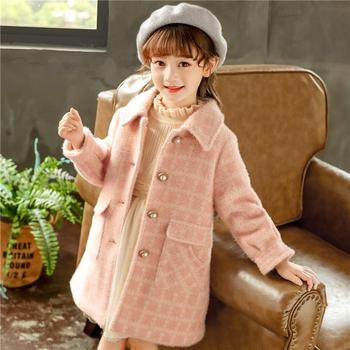 Girls Cotton Padded Woolen Coat Fall & Winter Children's Clothing Thick Warm Outerwear Kids Soft Chenille Jacket Overcoat P377