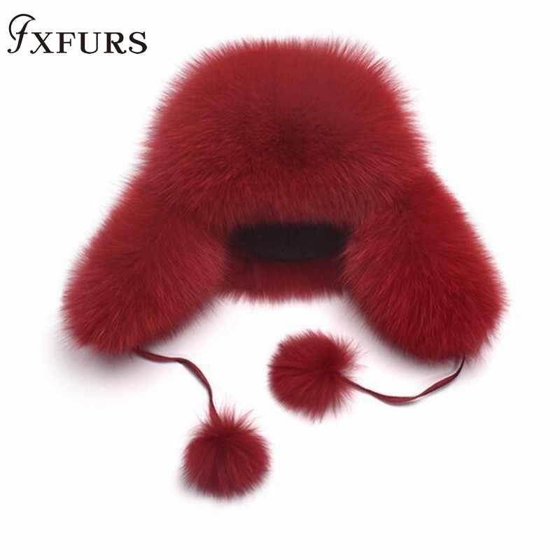 2019 Novo Chapéu de Pele de Mulheres Natural Raccoon Fox Fur Russo Ushanka Cap Guaxinim Ouvidos Moda Bomber Chapéus de Inverno Quente Grossa tampas de neve