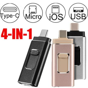 Wholesale 4-in-1 High Speed USB3.0 Flash Drive Memory Disk for iPhone Android Type-C PC 256gb 128gb image