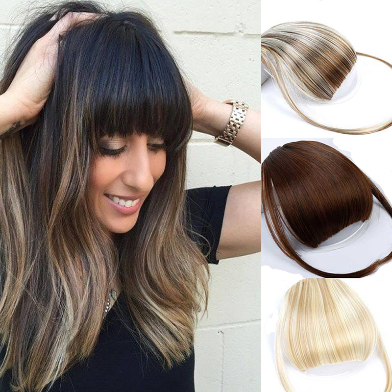 HOUYAN Hair High Temperature Fiber Extension Synthetic False Hair Neat Front False Fringe  Clip In Bangs Piece For Adult Women