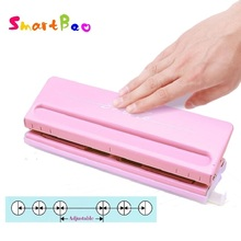 6 Hole Standard Punch Adjustable Hole Punch for Handmade Loose Leaf and Bullet Journal Inner Page; Pink,White; 6 Sheets Capacity