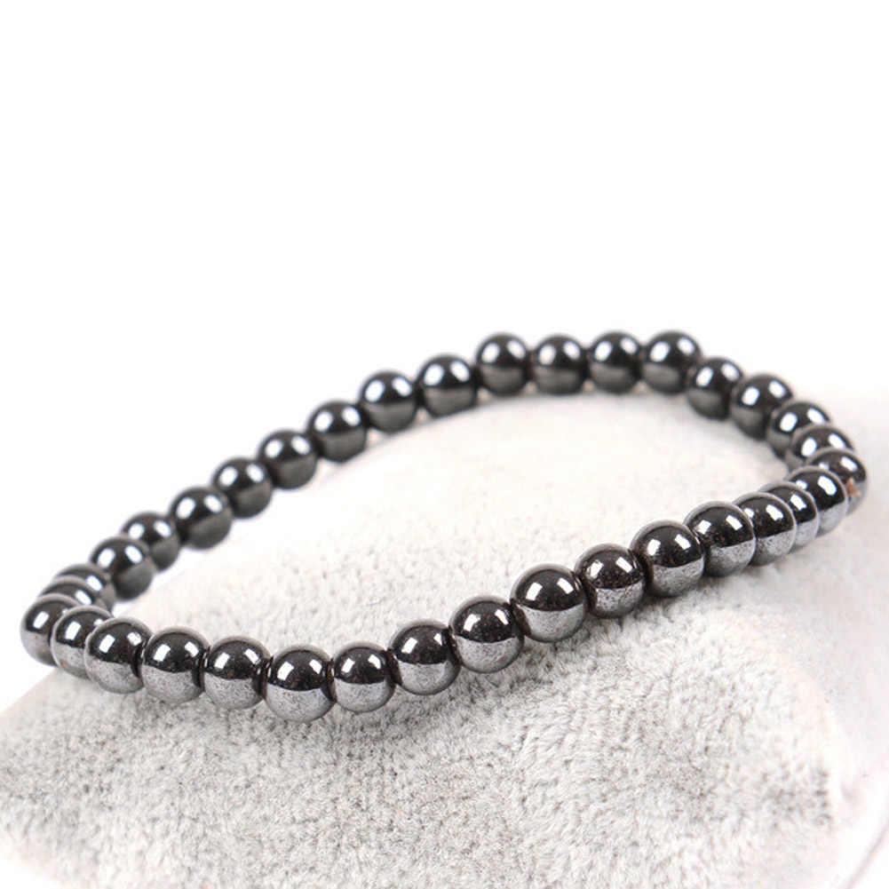 Женский черный крутой магнитный браслет бисер терапия с помощью гематита здоровье и здоровье магнит браслет из Гематитовых бусин мужские ювелирные изделия