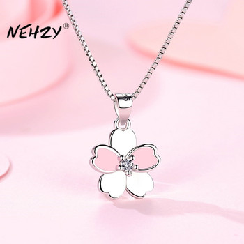 NEHZY 925 Sterling Silver Women's Fashion New Jewelry High Quality Retro Simple Crystal Zircon Flower Pendant Necklace Long 45CM - discount item  40% OFF Fine Jewelry