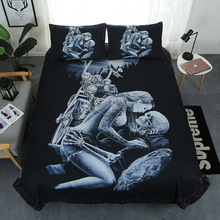 2020 Skull Printed Duvet Cover Set Comforter Bedding Set King Double Sizes Duvet Cover with Pillow Cases Rider Girl Bedding Set bedding set double tango 073 70