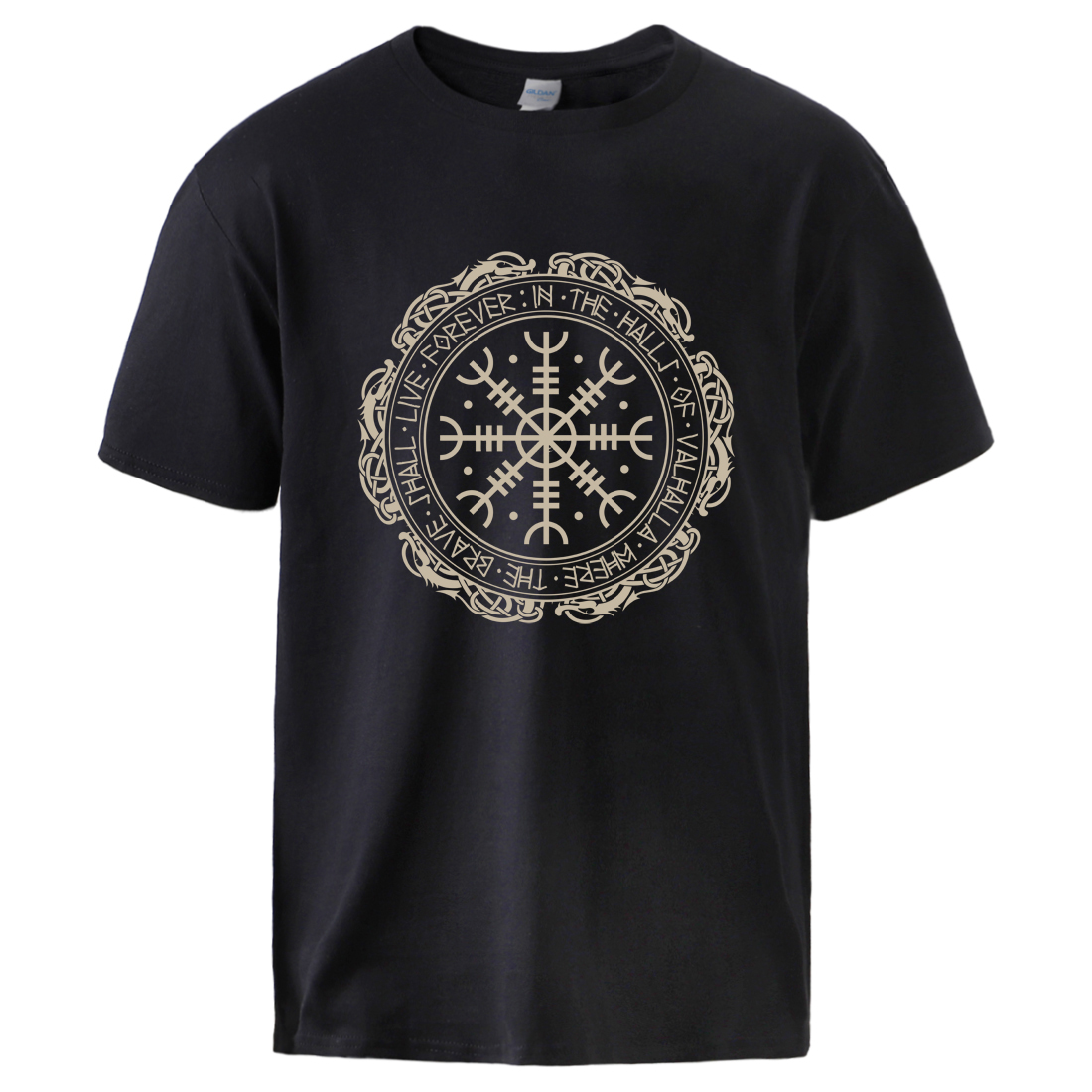 Vikings Tshirts Mens Son Of Odin Cotton Top Tshirts Gone To Valhalla Hip Hop Short Sleeve Sweatshirts 2020 Male Causal Loose Top