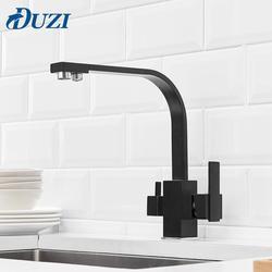 Robinet de cuisine carré 3 voies | Filtre à eau, robinet à Rotation de 360 degrés robinets d'eau de cuisine en laiton massif noir