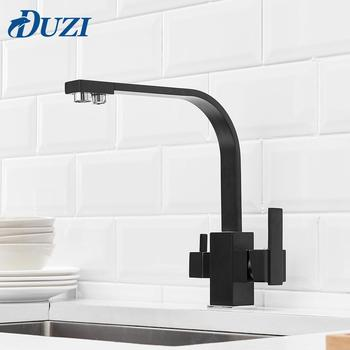 Square Kitchen Faucet 3 Way Water Filter Tap 360 Degree Rotation  Water Faucets Black Solid Brass Kitchen Sink Tap Water Mixer