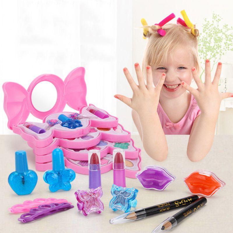 Cute Candy Box Children Cosmetics Makeup Set Princess Girl Eyeshadow Lip Gloss Brushes Kit Pretend Play Toys Children Gift Q6PD