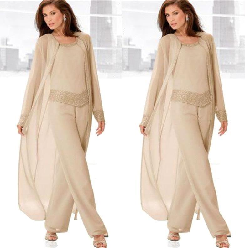 Vestidos De Madrina 2019 Chiffon Plus Size Mother Of The Bride Pant Suit Elegant Formal Mother Of The Groom Dress With Jacket
