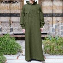 Jubba Thobe Islamic Clothing INCERUN Muslim Robes Kaftan Men 5XL Buttons Hooded Mult-Pockets