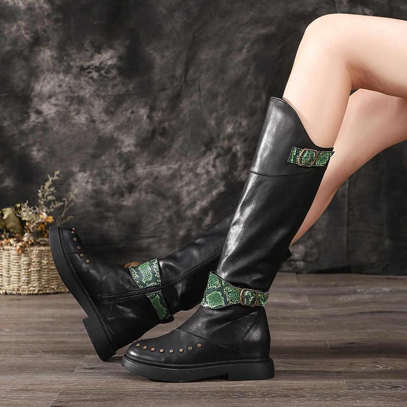 VALLU 2019 Originele Ontwerp Vrouwen Schoenen Lange Laarzen Klinknagel Rits Echt Leer Platform Vrouw Laarzen Knie Hoge
