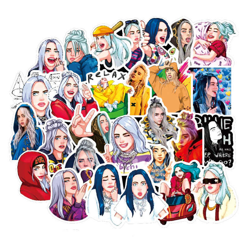 50Pcs Billie Eilish Kartun Stiker Tahan Air Koper DIY Laptop Gitar Skateboard Mainan Stiker Yang Indah
