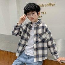 Shirt Blouse Clothing Plaid Korean-Style Boys' Kids Long-Sleeved Cotton Children's New