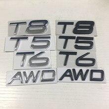 Black/Silver T5 T6 T8 AWD Emblem Sticker Trunk Sticker for Volvo XC90 XC60 XC40 S60 S70 S80 S90 V40 T5 T6 T8 AWD Volvo Sticker