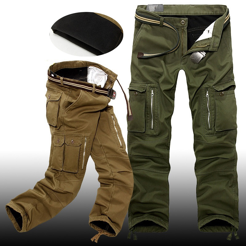 28-40 Plus Size Men Cargo Pants Winter Thick Warm Pants Full Length Multi Pocket Casual Military Baggy Tactical Trousers