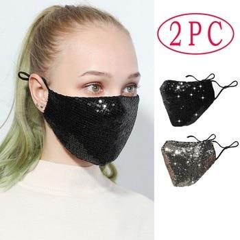 #45 2pcs Anti-spitting Face Mask Outdoor Mouth Mask Washable Reuse Face Mask Sequins Protection Mask Mascarilla Lentejuelas