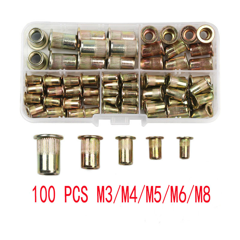 100PCS M3 M4 M5 M6 M8 Carbon Steel Rivet Nuts Insert Rivets Multi Size Flat Head Rivet Nuts Set