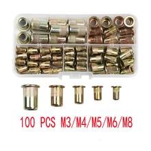 100 шт. M3 M4 M5 M6 M8 углерод сталь заклепка гайки вставка заклепки мульти размер плоский головка заклепка гайки набор